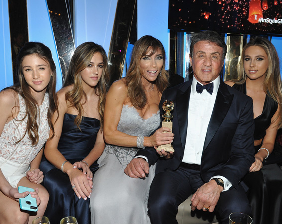 It's a Stallone family outing at the InStyle and Warner Bros Golden Globe's after party [Getty]