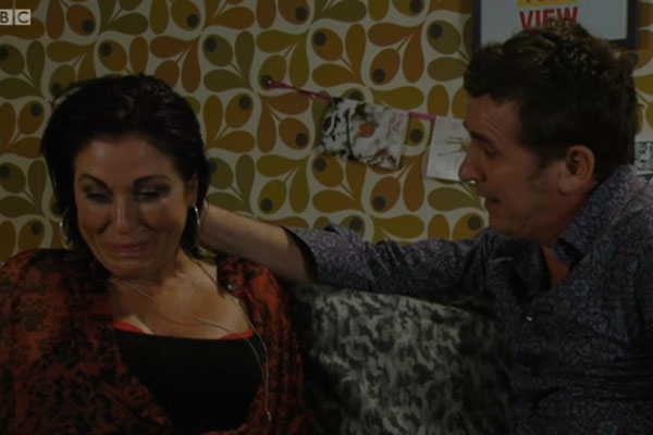 Kat was seen breaking down in tears as Alfie told her the news about his brain tumour [BBC]