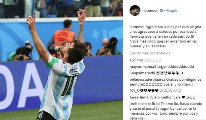 El posteo de Messi.