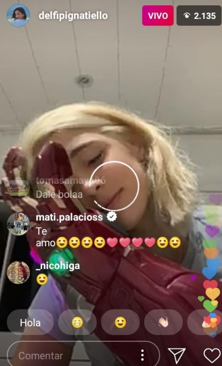Uno de los pirópos de Matías Palacios a Delfina Pignatiello (IG Live).