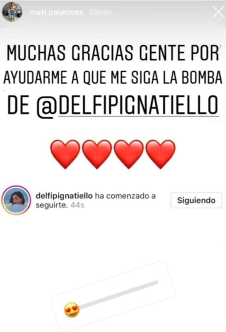 Así reaccionó el pibe al enterarse que le llegó el follow de Delfina. Instagram