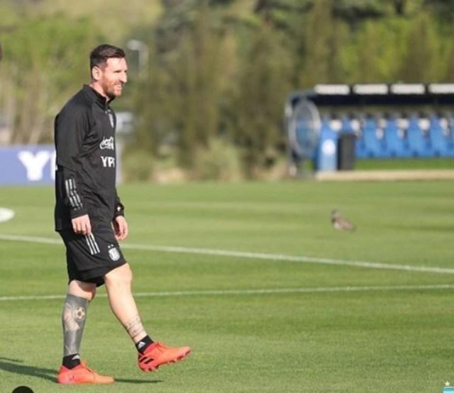 La sonrisa de Messi en el entrenamiento del martes.