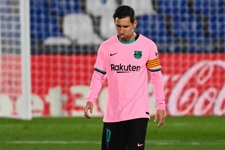 Messi, crestfallen against Getafe.