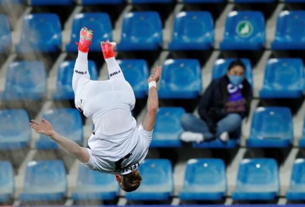 Así festejó Ermir Lenjani su gol en Andorra (Reuters).