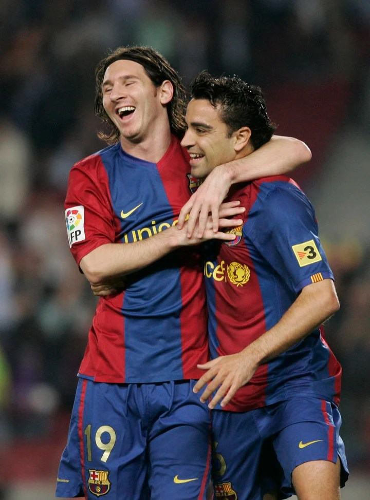 Xavi with Messi, when Leo scored a great goal at Getafe.