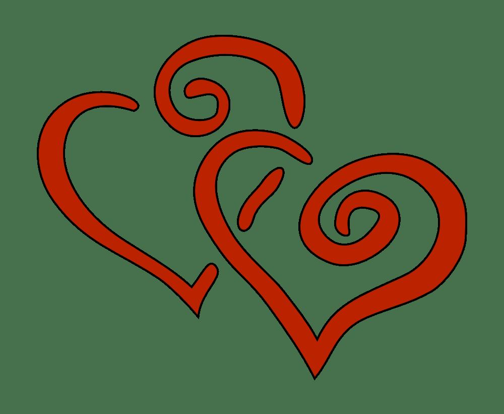 OnlineLabels Clip Art - 2 Hearts (1000 x 821 Pixel)
