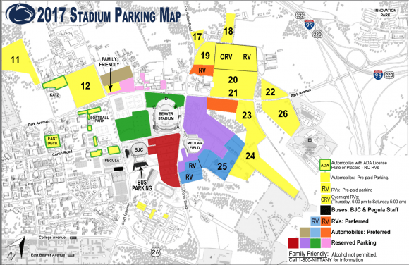 Psu Parking Map Yellow Lot 12, Other Football Parking Lots Closed For Saturday Due