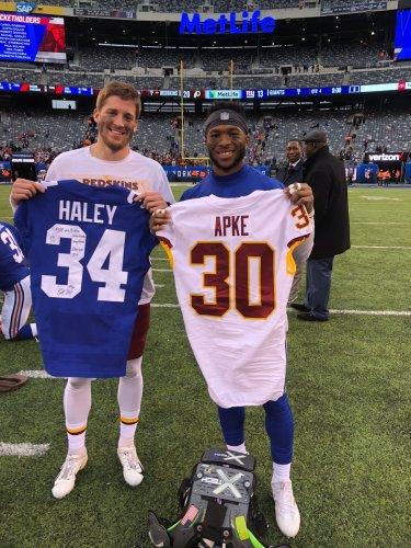 online store 2df13 22e51 Apke, Haley, Barkley Reunite Following Redskins-Giants Game ...