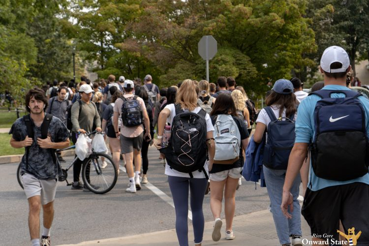 Sidewalk Intersection With Students Crossing