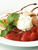 Cristina Ferrare's Angel Food Cake with Strawberry Sauce and Peach Sorbet