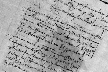 """Un """"repartimiento de indios"""" de 1582, conservado en el Archivo General de la Nación."""