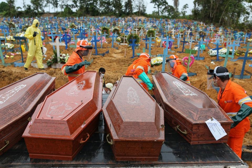 Brasil registró la cifra record de 1.179 muertes por coronavirus en la última jornada.