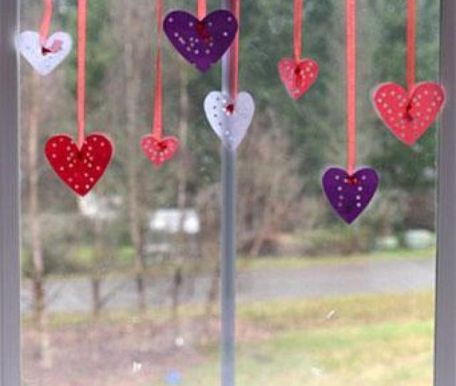 Valentines Day Craft Hole Punched Hearts