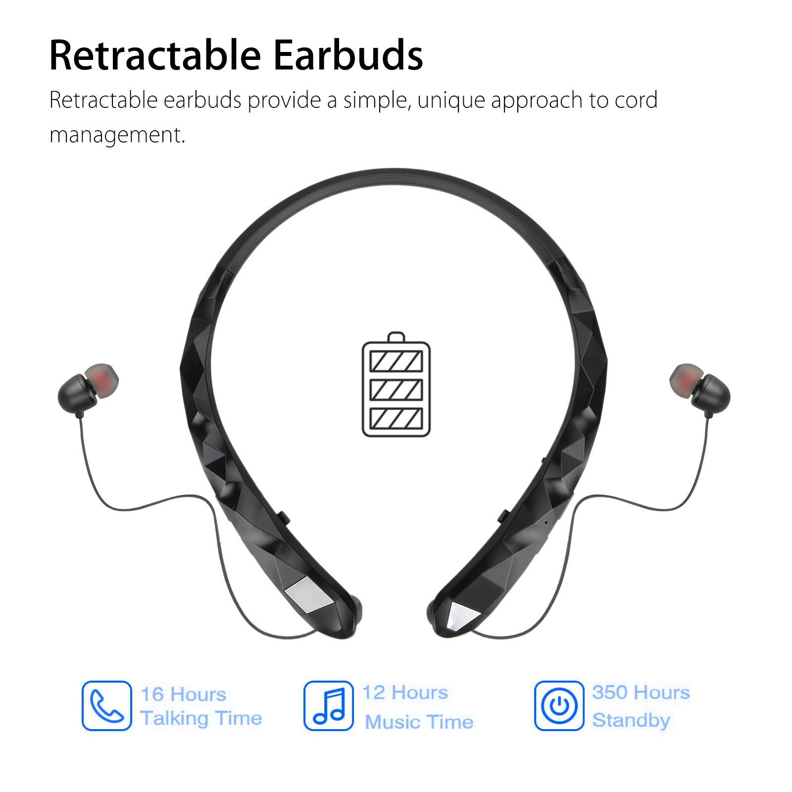 wireless bluetooth headset neckband retractable stereo headphone earphone  earbud