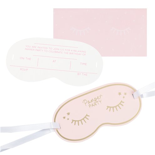pamper party eye mask shaped party invitation cards