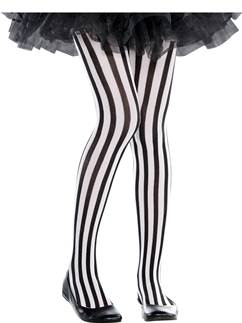 Black & White Vertical Striped Tights - Child 6-8yrs