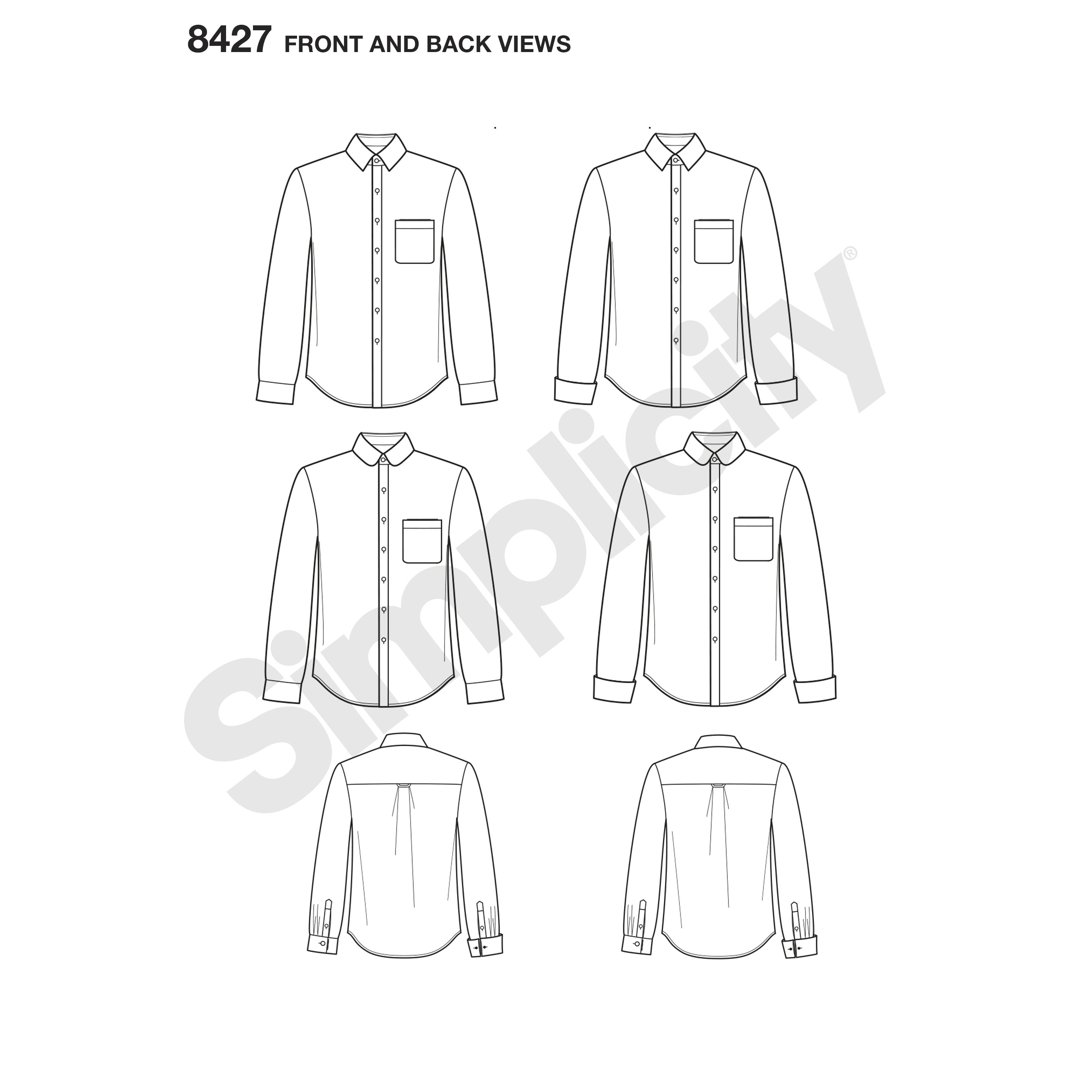 Simplicity Men S Fitted Shirt With Collar Amp Cuff Variations By Mimi G