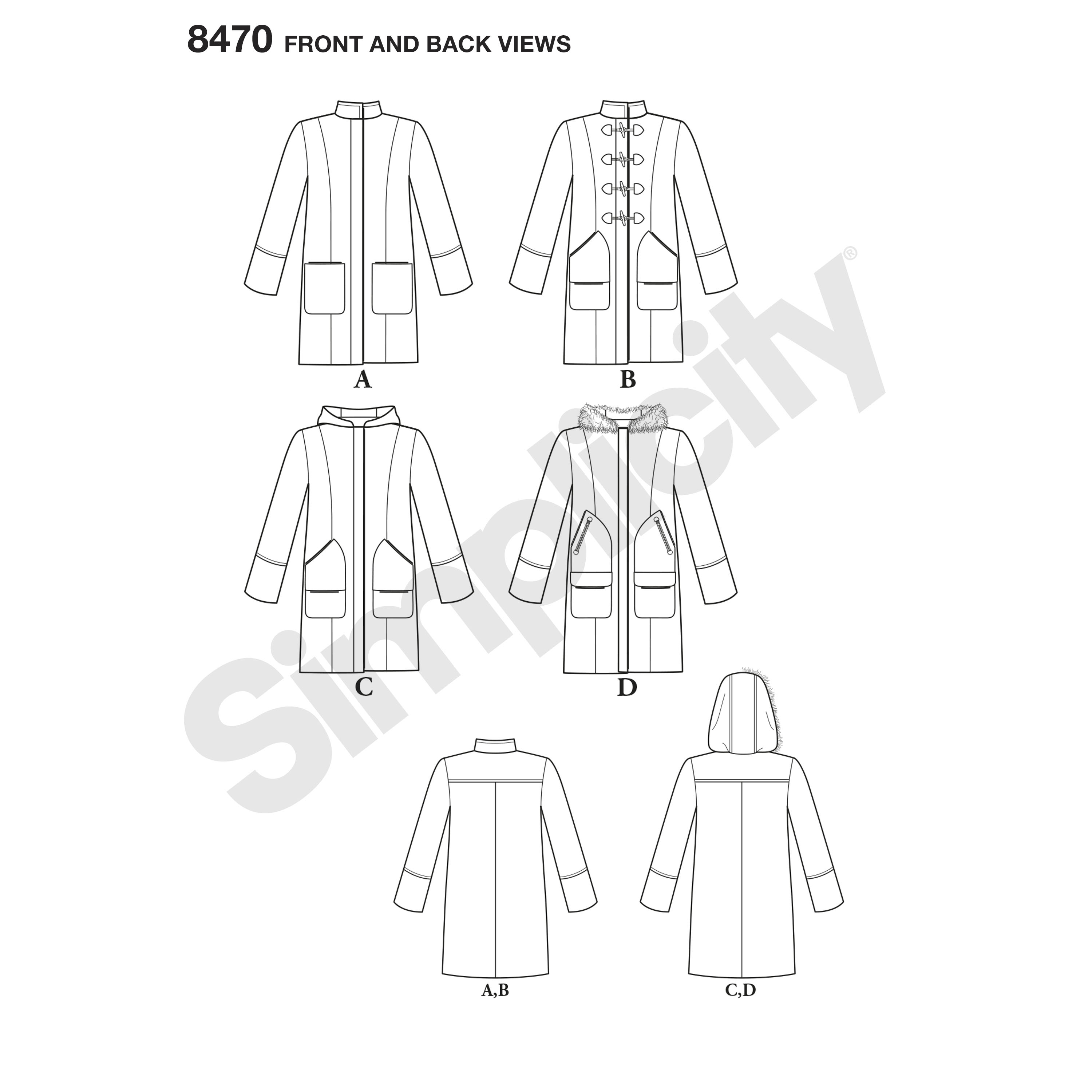 Simplicity Pattern Misses Lined Coat With Collar Or