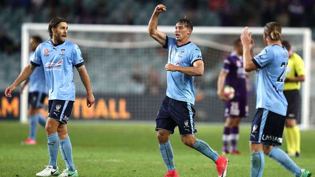 Filip Holosko celebrates his goal in Sydney's win over Perth Glory.