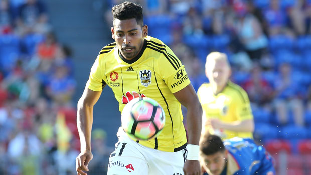 Wellington's Roy Krishna bursts onto the ball during the Boxing Day clash with Newcastle Jets.