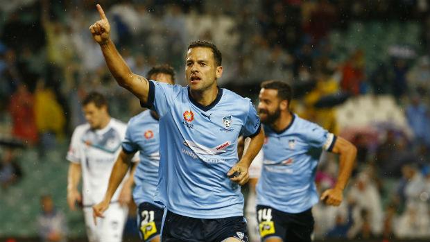 Sydney FC striker Bobo celebrates his winner against Victory on Friday night.