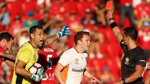 Brisbane Roar goalkeeper Michael Theo was sent off in his side's loss to Adelaide United on Sunday.