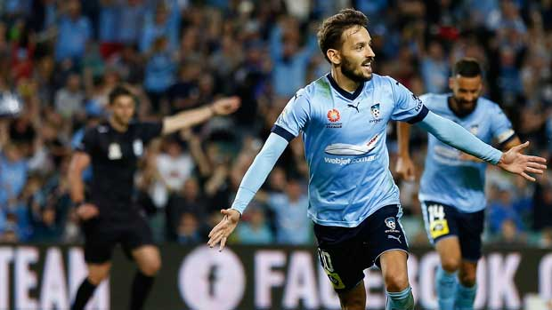 Milos Ninkovic celebrates after grabbing the opening goal in Sydney FC's clash with Newcastle Jets on Saturday night.