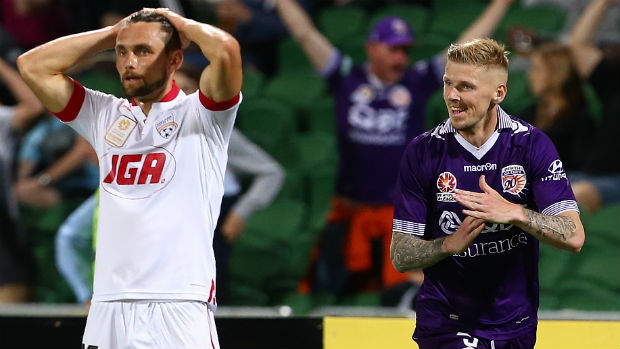 Andy Keogh celebrates one of his two goals against the Reds on Friday night.