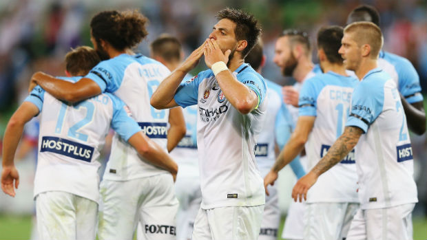 Bruno Fornaroli celebrates one of his two goals against the Jets on Saturday night.