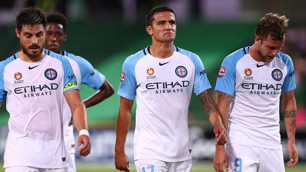 Tim Cahill and his Melbourne City teammates.