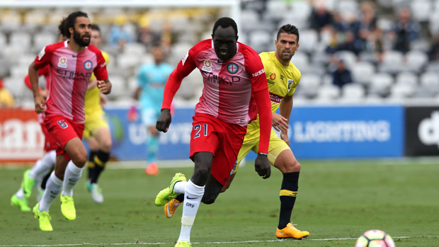 Ruon Tongyik on the ball during City's 3-2 win over Central Coast Mariners.