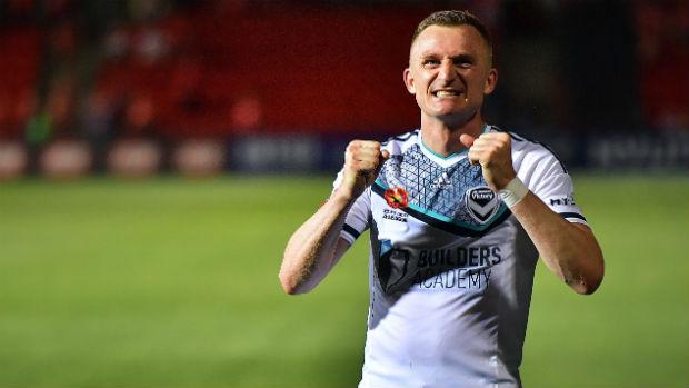 Melbourne Victory striker Besart Berisha celebrates a win at Coopers Stadium.