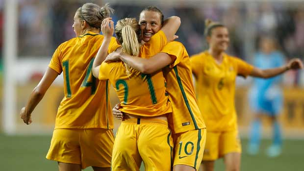 The Westfield Matildas celebrate after their history-making win over the USA at the Tournament of Nations.