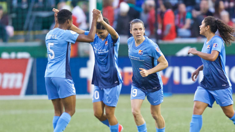 Sam Kerr netted twice over the weekend. Image: Sky Blue FC