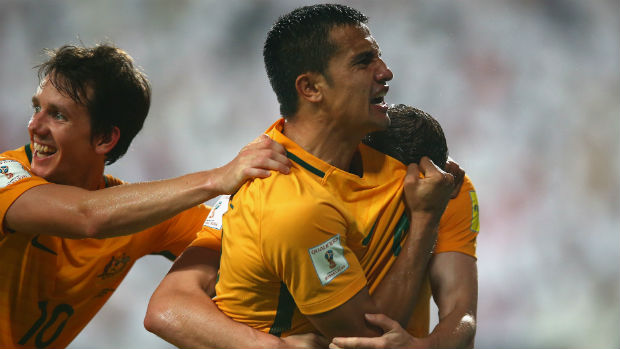 Caltex Socceroos striker Tim Cahill celebrates scoring against the UAE in a WCQ in September 2016.