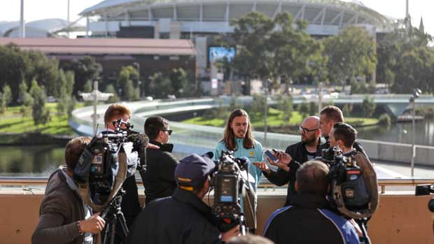 Jackson Irvine speaks to the media in Adelaide.