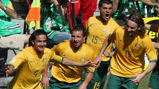 Tim Cahill celebrates scoring the first goal in the Socceroos' epic 3-1 win over Japan at the 2006 FIFA World Cup.