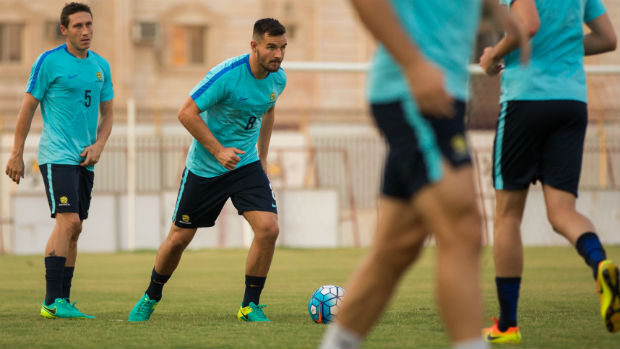 Caltex Socceroos defender Bailey Wright on the training ground in Jeddah.