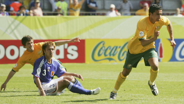 Tim Cahill celebrates scoring against Japan at the 2006 FIFA World Cup.