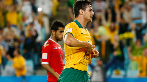 Socceroos striker Tomi Juric celebrates after scoring against Oman at the 2015 Asian Cup.