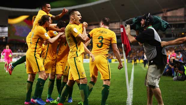 Trent Sainsbury celebrates after Mat Leckie's second goal sealed the result against UAE.
