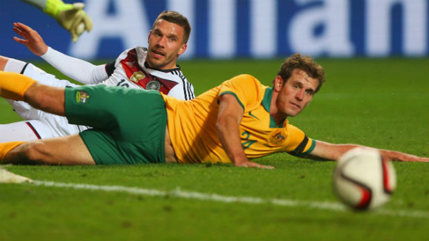 Defender Luke DeVere puts his body on the line when the Caltex Socceroos played Germany in a friendly in 2015.