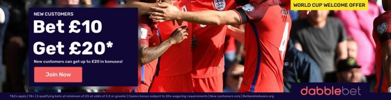 dabblebet new customer offer World Cup footer