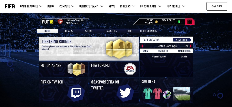 FIFA 18 web app