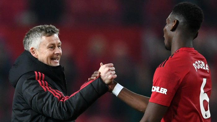 Paul Pogba Ole Gunnar Solskjaer Man Utd vs Huddersfield Premier League 2018-19