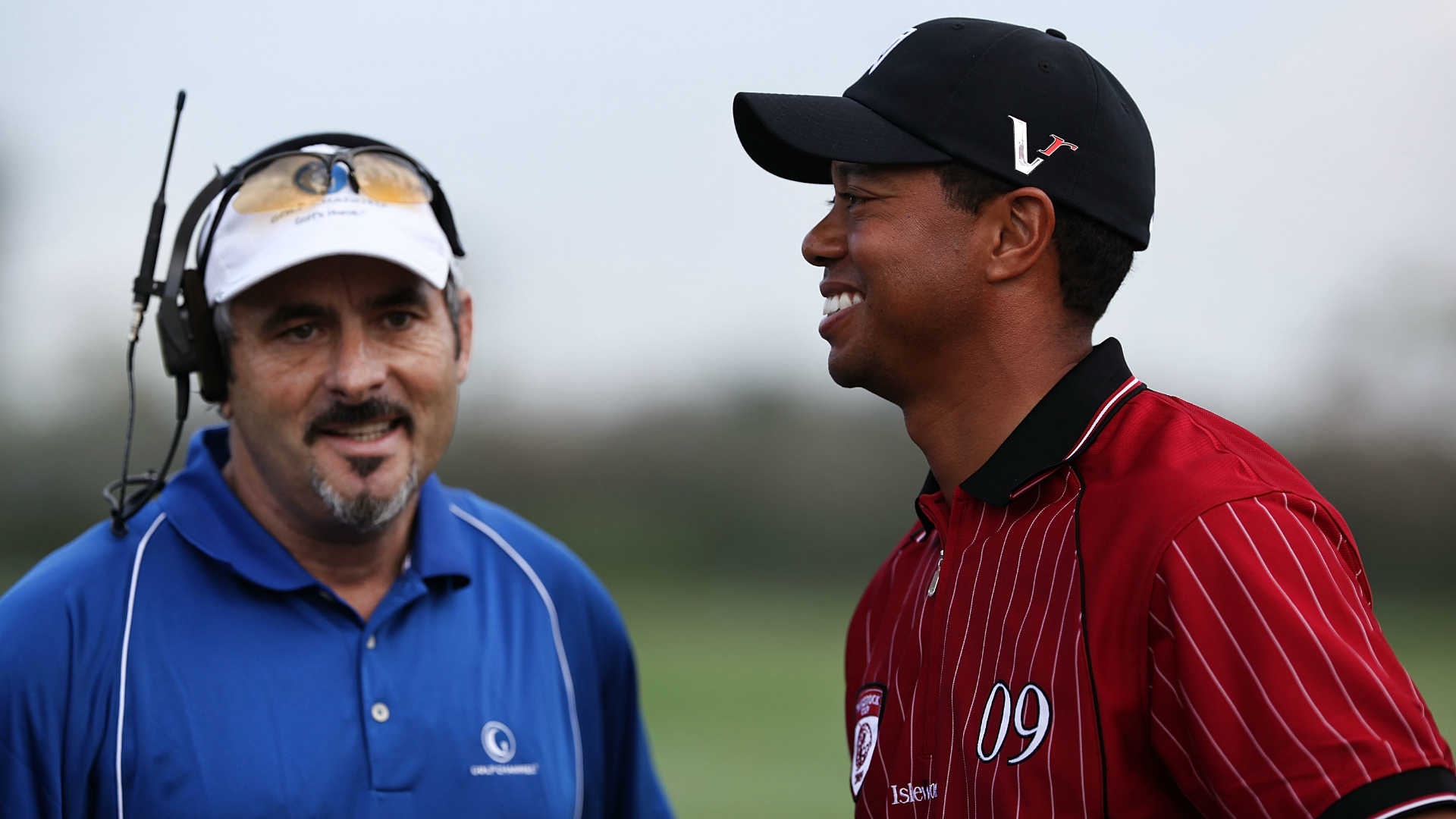 David Feherty, left, and Tiger Woods