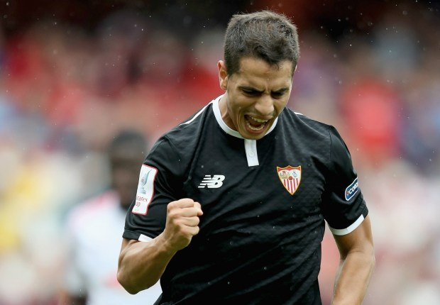 Sevilla's Wissam Ben Yedder celebrates against RB Leipzig