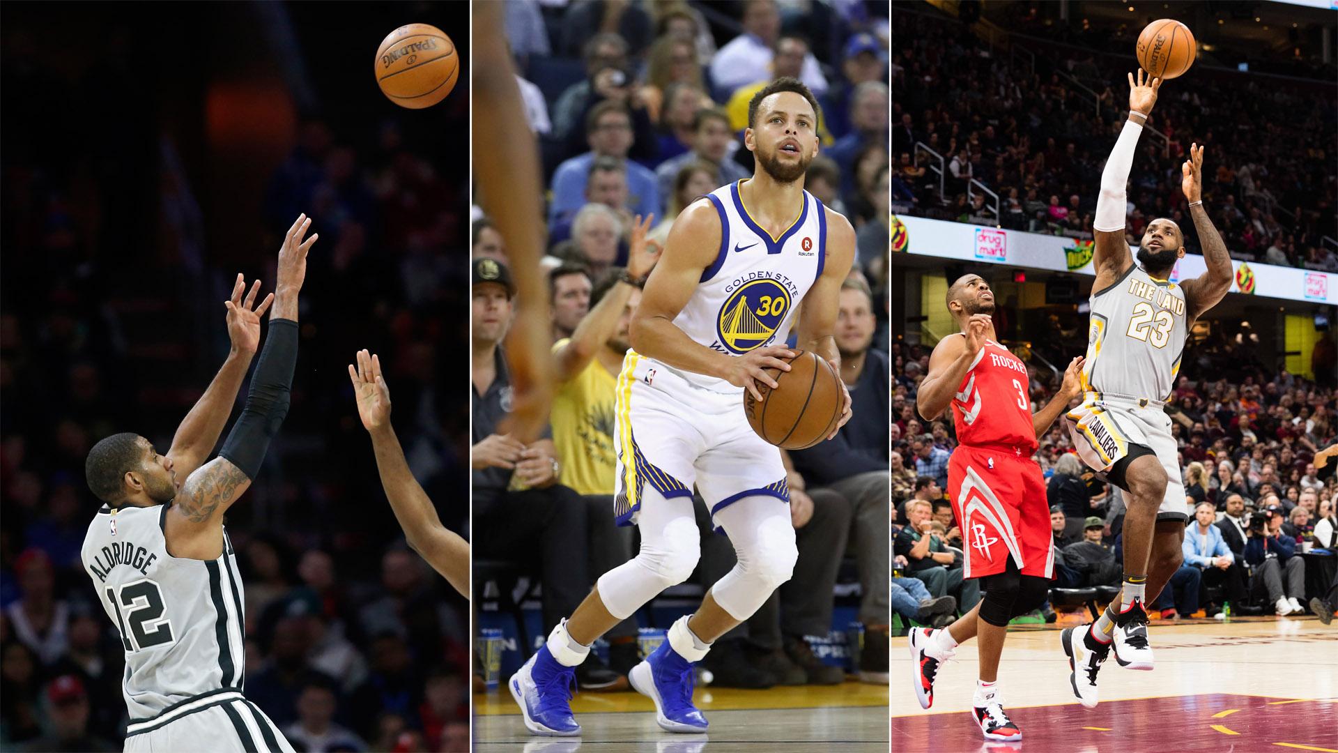 LaMarcus Aldridge, Stephen Curry and LeBron James