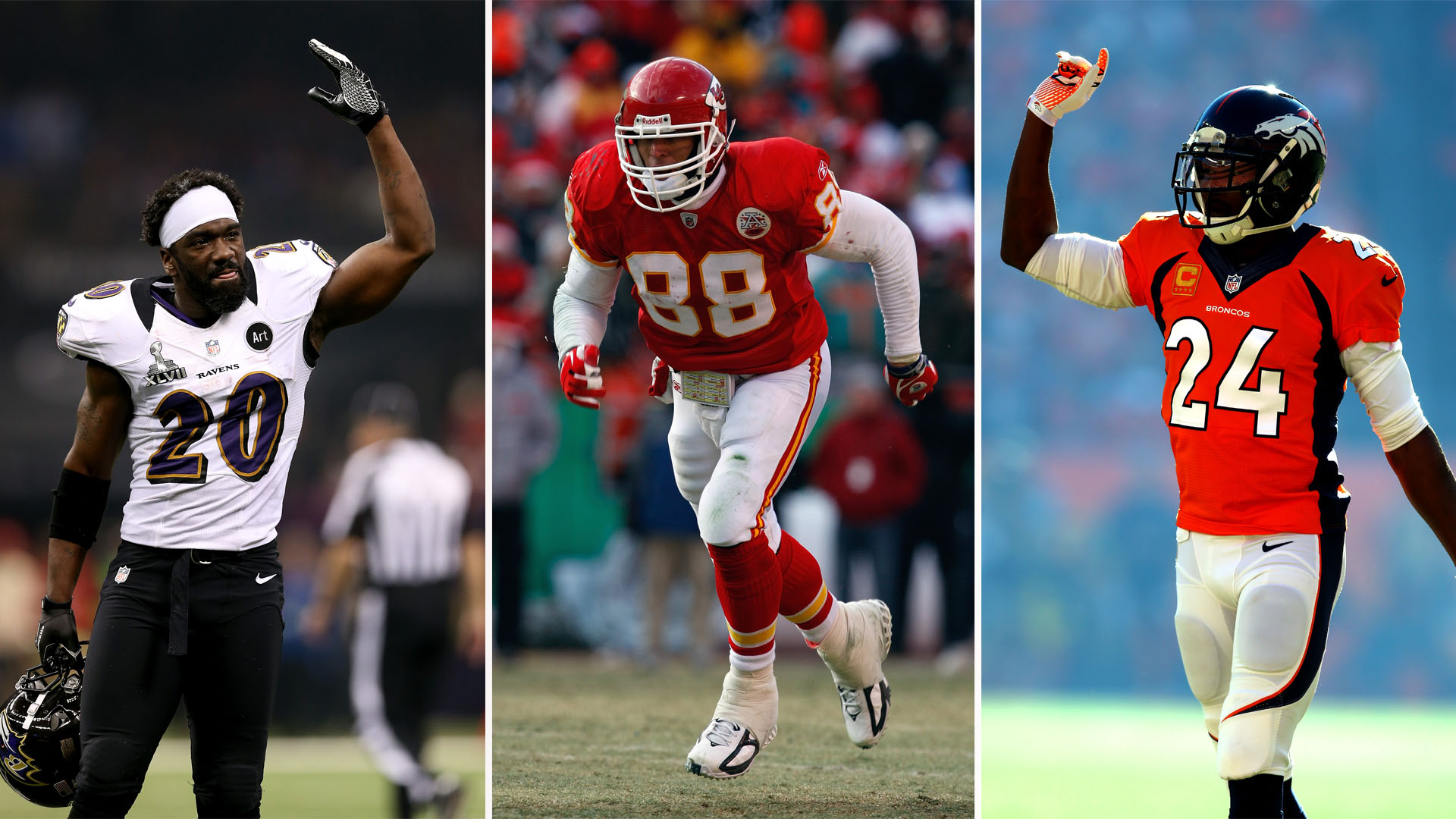 Ed Reed (left), Tony Gonzalez (middle) and Champ Bailey