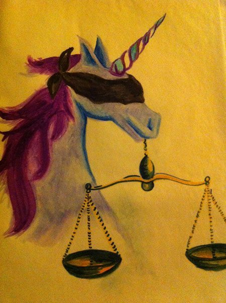 A blindfolded unicorn holds a scale of justice in her mouth.